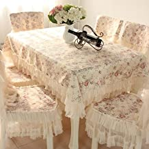 """Country style lace coffee grace floral design rectangular tablecloths cream 43""""63""""(tablecloths only)"""