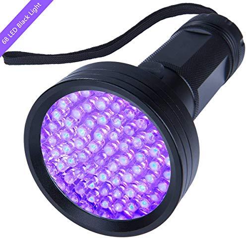 UV Flashlight Black light, WJZXTEK Super Bright 68 LED Best Powerful Black Light Flashlight 395NM Ultraviolet Urine Detector Flashlight for Home & Hotel Inspection, Pet Urine & Stain Detection -