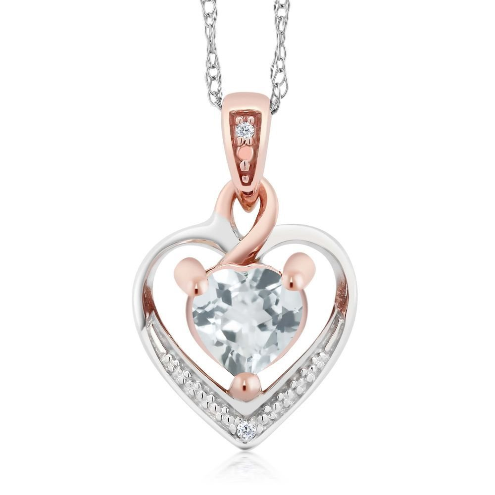 10K White and Rose Gold Sky Blue Aquamarine and Diamond Heart Shape Pendant Necklace (0.38 cttw, With 18 inch Chain)
