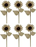 Admired By Nature Burlap Sunflower Stem with 2 Leaves for Home, Wedding, Restaurant & Office Decoration Arrangement, Natural, 20'' H - 6 Pieces
