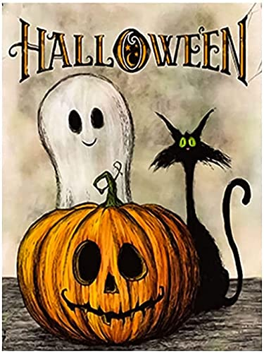 Halloween Diamond Painting Kits Cat, 5D Diamond Art Pumpkin Ghosts for Adults Kids Beginner, DIY Round Full Drill by Number Kits Paint with Diamonds Painting Kit Home Wall Decor 12x16inch