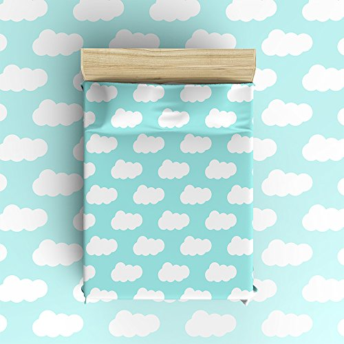 well-wreapped Libaoge 4 Piece Bed Sheets Set, Abstract Blue Sky White Clouds Design, 1 Flat Sheet 1 Duvet Cover and 2 Pillow Cases