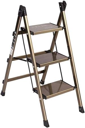 Escaleras de tijera Taburete de escalera Espesor ultrafino Aleación de aluminio Plegable Doméstico Escaleras de interior Estante de flores Estante Taburete de escalera (Color: champán, Tamaño: 670475880 mm) 670 * 475 * 880 mm: Amazon.es: Hogar