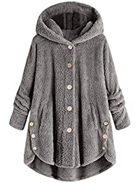 Fashion Women Button Coat Fluffy Tail Tops Hooded Pullover Loose Sweater