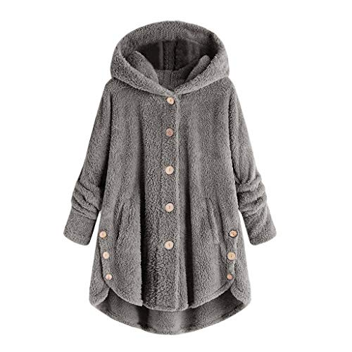 Leather Shift Jacket (TWGONE Fashion Women Button Coat Fluffy Tail Tops Hooded Pullover Loose Sweater (XXXX-Large,Deep Gray))