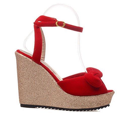 Odomolor Mujeres Hebilla Peep Tacón Alto Gamuza(Imitado) Sólido Sandalias de vestir Rojo