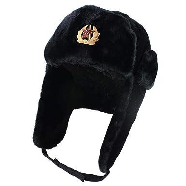 9ea45adbaa4 Soviet Army Military Badge Russia Ushanka Bomber Hats Pilot Trapper Aviator  Cap Winter Faux Rabbit Fur Earflap Snow Caps hat (1