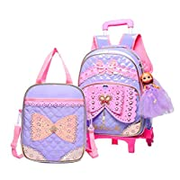Adanina 2Pcs Lovely Princess Style Elementary Students Rolling Backpack Cute Bowknot Primary School Trolley Bag School Book Bag Girls Daily Bag with Wheels