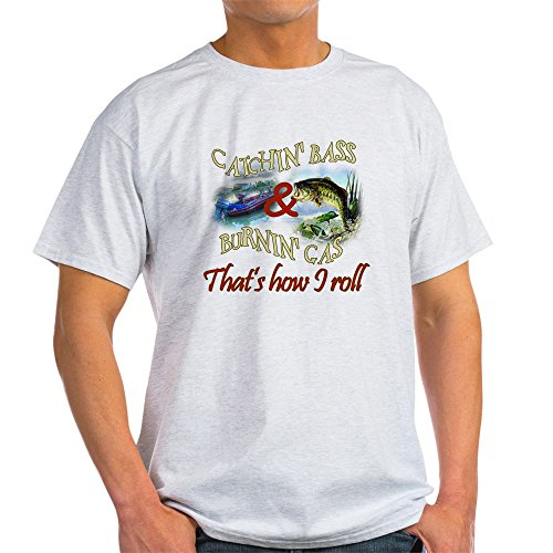 (CafePress Catchin' Bass & Burnin' Gas Light T-Shirt 100% Cotton T-Shirt Ash Grey)