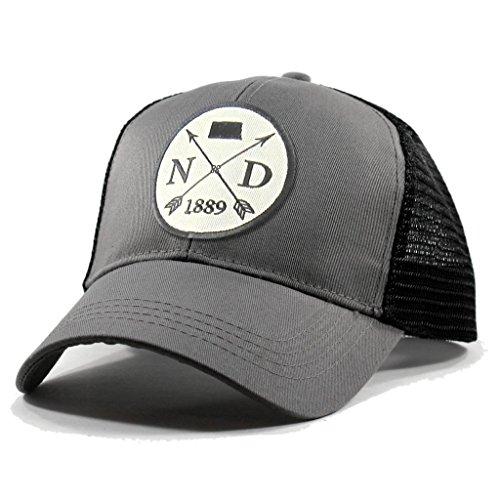Homeland Tees Men's North Dakota Arrow Patch Trucker Hat - Grey