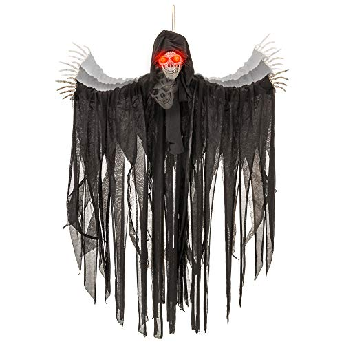 Halloween Motion Activated (Halloween Haunters Animated Hanging Talking Jumping Forward Moving Skull Skeleton Reaper Prop Decoration - Speaks 3 Spooky Phrases, LED Light Up Eyes, 3 Feet, Haunted House Graveyard Party)