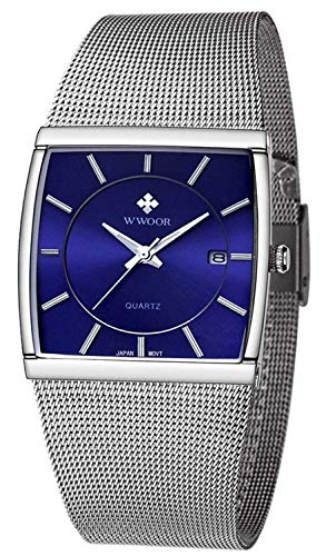 Men Watch Classic Analog Quartz Date Stainless Steel Milanese Mesh Band Ultra-Thin Rectangle Dial Luminous (Blue)