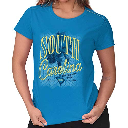 (Palmetto State South Carolina Myrtle Beach Ladies T Shirt Sapphire)