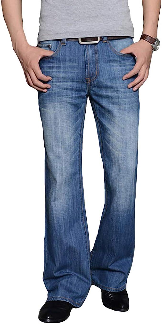 1970s Men's Clothes, Fashion, Outfits HAORUN Men Bell Bottom Jeans Slim Fit Vintage 60s 70s Flared Denim Pants $46.99 AT vintagedancer.com