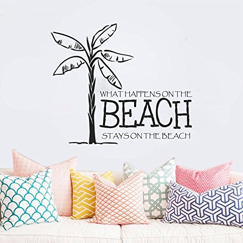 What Happens on the Beach Stays on the Beach with Palm Tree Vinyl Wall Words Decal Sticker - Of Seashells What Made Are