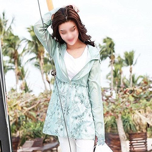 QFFL fangshaifu 女性ロングセクション抗UV日焼け止め服/細い快適な通気性のあるビーチ日焼け防止シャツ/屋外自己栽培ファッション印刷カーディガン (色 : E, サイズ さいず : M)