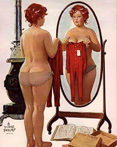 Vintage Pin Up Art Hilda  11 x 17 Matte Paper Pin Up Plus Girl #15