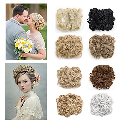 Lady Outlet Store Messy Hair Bun Extension Combs Clip in Ponytail Bun Extension Curly Hair Piece Dish Donut Chignons