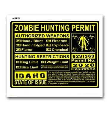 Idaho ID Zombie Hunting License Permit Yellow - Biohazard Response Team - Window Bumper Locker Sticker