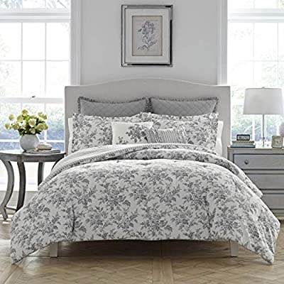 Laura Ashley Annalise Floral Comforter Set, King, Gray - 100Percent cotton Machine wash cold, separately. Delicate cycle. Tumble dry low Set includes: 1 comforter, 2 King shams, 2 european shams and 2 throws pillows - comforter-sets, bedroom-sheets-comforters, bedroom - 51Lz2Si9ZLL. SS400  -