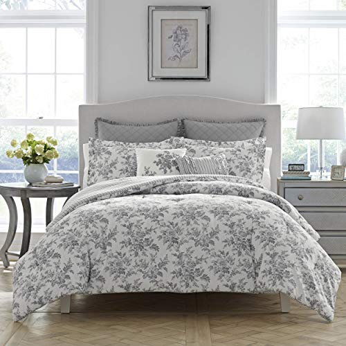 Toile King Comforter - Laura Ashley Annalise Floral Comforter Set, King, Gray
