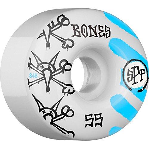 アクセシブル悔い改める踊り子Bones Wheels SPF Warペイント55 mm 84bホワイト/ブルーSkateboard Wheels ( Set of 4 )