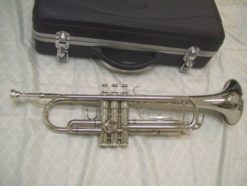 Silver trumpet with case and mouthpiece
