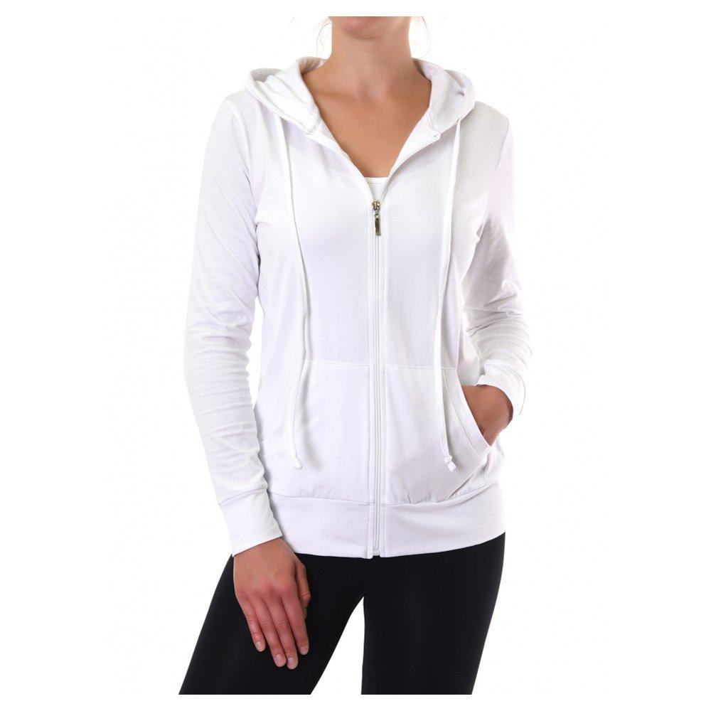 Uni Style Apparel Womens Thin Cotton Zip-Up Hoodie Jacket (White, XLarge)