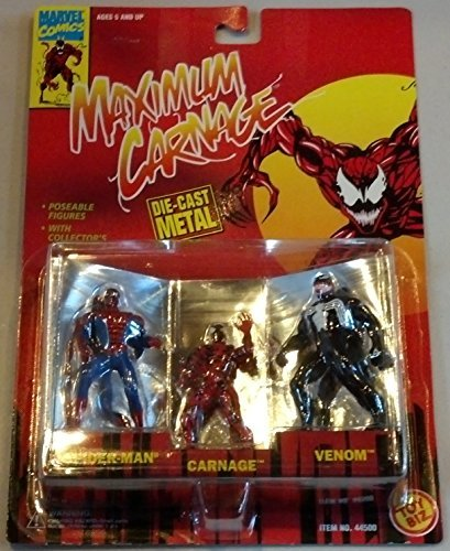 Spider-Man, Carnage and Venom Minature Poseable Die-Cast Metal Action (Poseable Diecast Toy)
