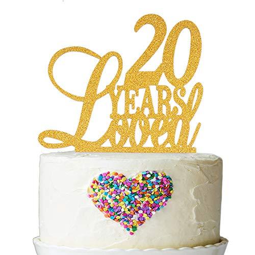 Decoración para tarta de 20 años con purpurina dorada ...