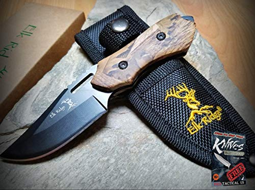 New Elk Ridge Fixed Pro Tactical Elite Knife 6-inch Overall Camo Wood Stainless Hunting Outdoor BC for Home Camping Hunting Rescue + free Ebook by ()