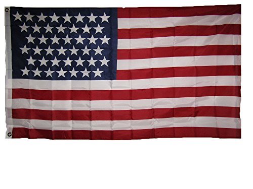(AES 3x5 USA American 43 Star Linear 1890 1891 Historical Flag 3'x5' Super Polyester Nylon House Banner Grommets Double Stitched Metal Eyelets for Hoisting Fade Resistant Premium Quality)