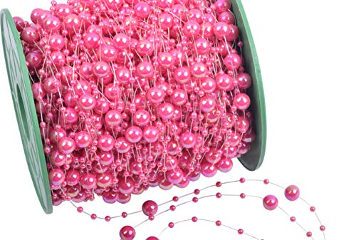 KAOYOO 200 Feet Artificial Pearls String Beads Chain Garland Pearl Beaded Trim(Pink AB)