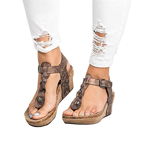 Thong Platform Shoes - Ofenbuy Womens Wedge Sandals Ankle Buckle T Strap Platform Casual Summer Heeled Shoes