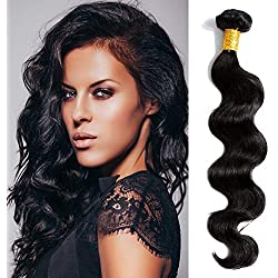 Body Wave 8A Hair Weave 1 Bundle Unprocessed Brazilian Human Virgin Real Raw Hair Extension Natural Color (28 Inch)