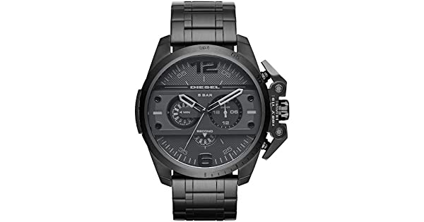 7a6cf5da0 DIESEL Ironside Chronograph Stainless Steel Watch - Black DZ4362: Amazon.ae