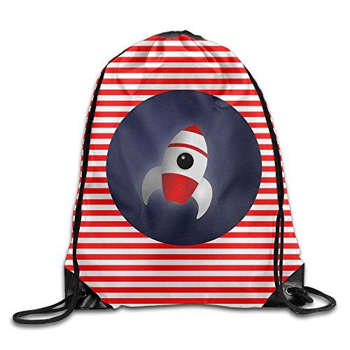 Rocket Space Unisex Lovers Drawstring Backpack Gym Bag