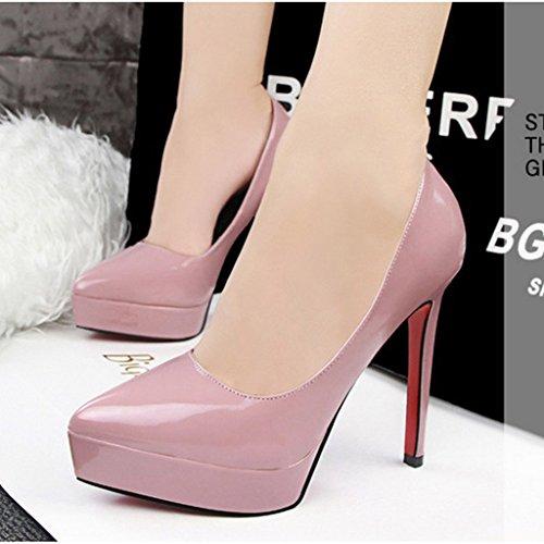 Minetom Club Printemps Rose Talon Escarpins Bride Soirée Chaussures Été Sexy Plateforme Cheville Epais Femme 12CM Aiguille rOwW5aqr