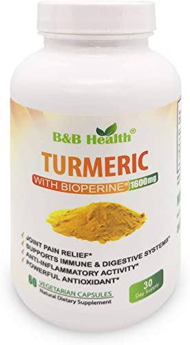 Turmeric Curcumin Max Potency 95 Curcuminoids 1600 Milligram With Black Pepper – BioPerine – Non-GMO – Natural Anti Inflammatory and Joint Pain Relief Antioxidant Supplement – 60 Veggie Caps