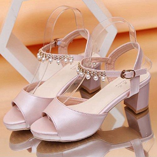 Femmes Talons Sandales Mode de la Bouche Chaussures Robe de Femme Classique de la Cheville Bracelets Diapositives Pompes Rose cmyi9A