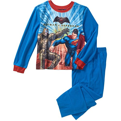 DC Batman v Superman 2 Piece Boys Flannel Pajama Set (Blue Micro Performance Fleece)