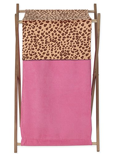 Sweet Jojo Designs Baby and Kids Clothes Laundry Hamper for Cheetah Girl Pink and Brown Bedding -