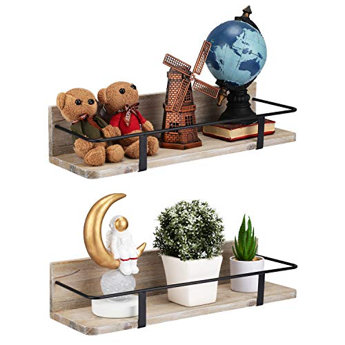 Coresto Decorative Storage Shelves, Wall Mount Wood Floating Shelf Set of 2 for Bedroom, Bathroom, Living room etc. Rustic Touched Wood Display for Closet and More (Large & Small) (Brown)