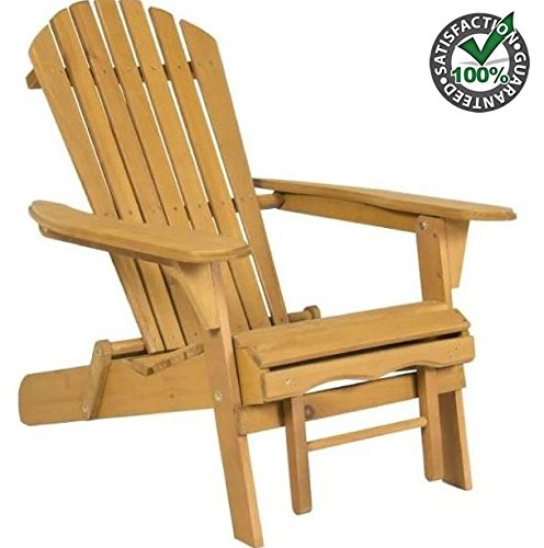 New Elegant Adirondack Outdoor Wood Chair Folding Wooden with Pull Out Ottoman and Adjustable Back Seat Patio Outdoor Deck Porch Garden Lawn Yard Lounger Beach Furniture by Produit Royal