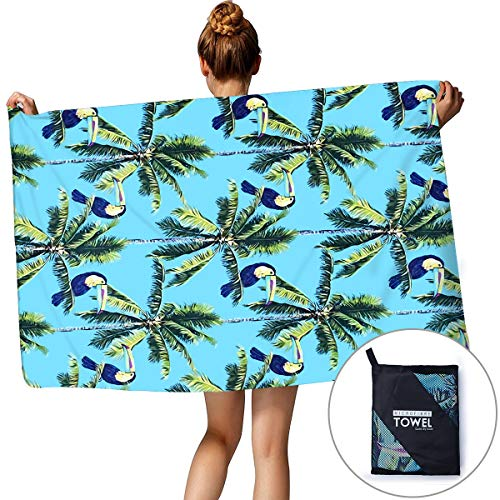(TUONROAD Unisex Luxury Beach Towels Tropical Beach Theme Purple Toucan Jade Green Palm Tree Bathroom Swimming Hiking Towels Rapid-Drying Easy Carry Lightweight Absorbent Shower Blankets for Holiday)
