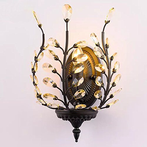 Wall Sconces Light E12 E14 Base Wall Industrial Vintage Edison Simplicity Lamp Fixture Tree Leaf Crystal Steel Finished for Cafe Club Home Decor by LightInTheBox (Black)