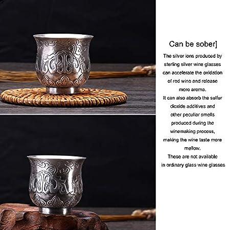 XXSC-ZC Copa de Vino de Plata de Ley, Licor de Licor de Licor de Licor de Licor de Vidrio, Copa de Vino para el hogar de pequeña Capacidad, Vidrio Espiritual Tallado a Mano