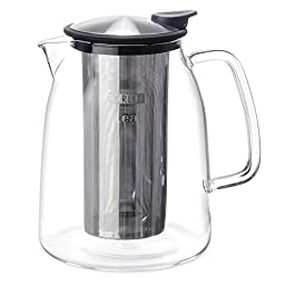 FORLIFE Mist Iced Tea Jug with Basket Infuser, 68-Ounce, Black Graphite