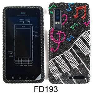 For Motorola Droid 3 Diamond Bling Case Cover - Music Notes Keyboard Pink Green Red Blue FD193