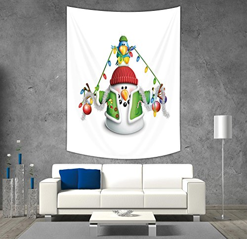 iPrint Polyester Tapestry Wall Hanging,Snowman,Cartoon Whimsical Character with Christmas Garland Blue Bird Various Xmas Elements Decorative,Multicolor,Wall Decor for Bedroom Living Room Dorm (Tapestry Snowman Wall)